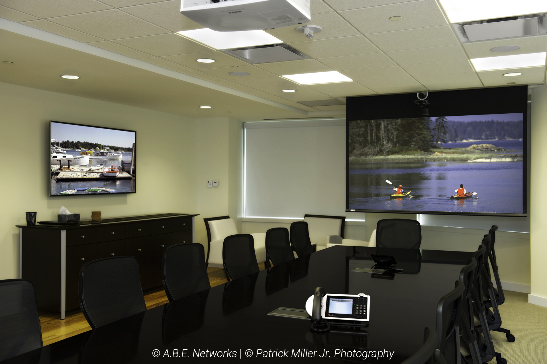 Executive Conference Room with Projector and Mounted TV