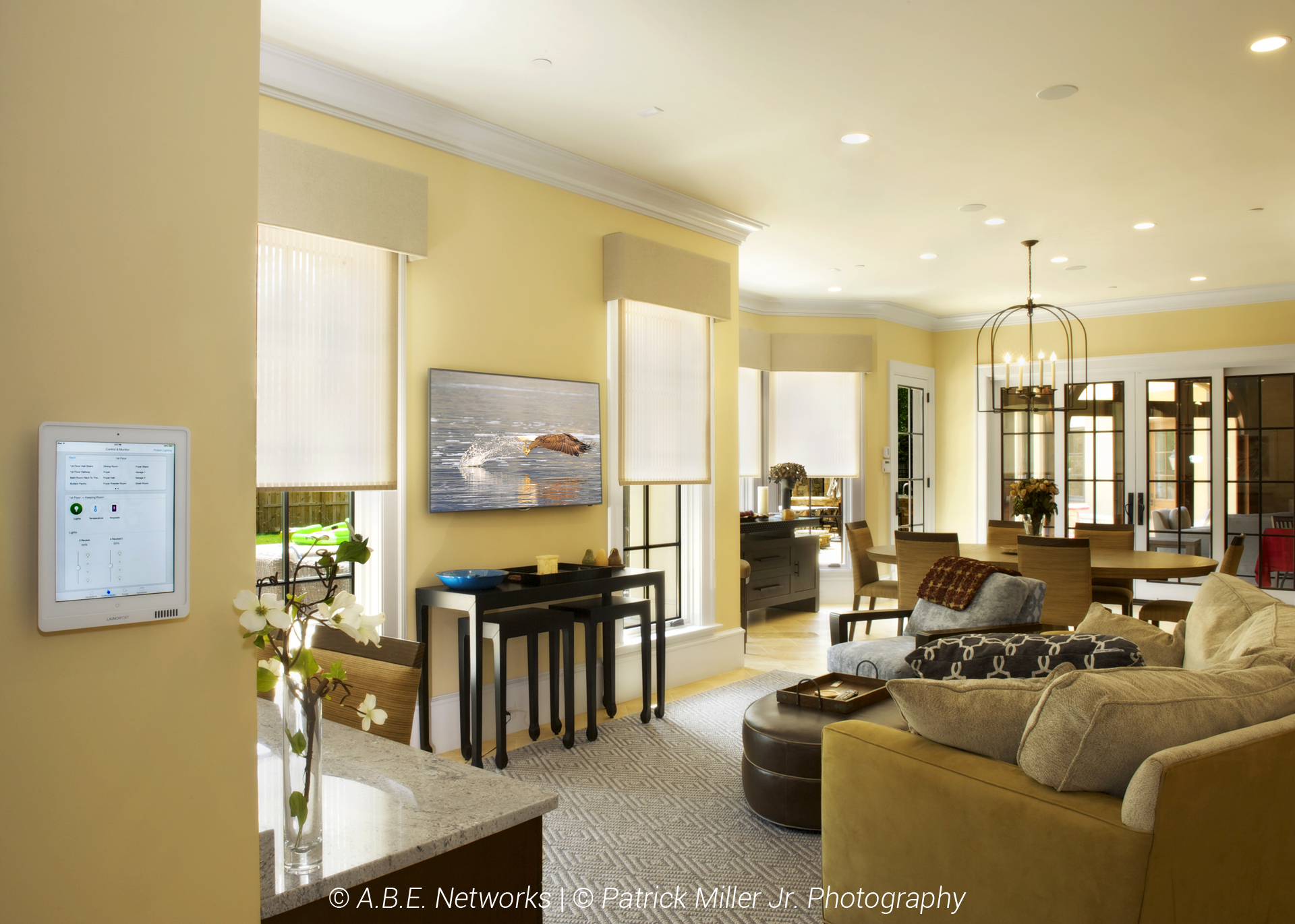 Living Room Lutron Controlled Through iPad_Blinds Mid